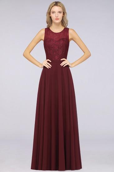 BMbridal Elegant Roud Neckline Sleeveless Burgundy Lace Bridesmaid Dress Online_2