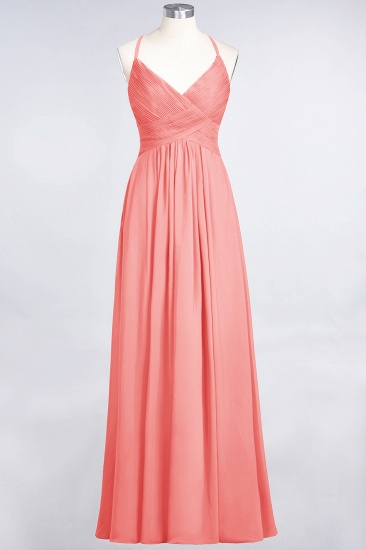 Affordable Chiffon Ruffle V-Neck Bridesmaid Dress with Spaghetti Straps_7