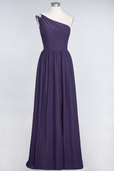 Affordable Chiffon One-Shoulder Ruffle Bridesmaid Dress with Beadings_19