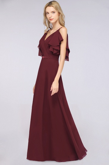 Modest Cold-shoulder Crinkle Chiffon Long Bridesmaid Dress with Pearls_4