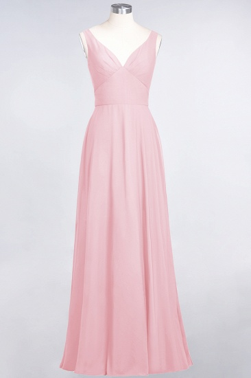 Chic Chiffon V-Neck Straps Ruffle Affordable Bridesmaid Dresses with Open Back_4