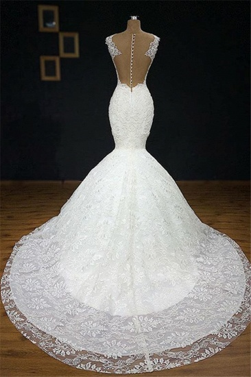 BMbridal Unique White Straps Mermaid Wedding Dresses With Appliques Tulle Ruffles Lace Bridal Gowns Online_4