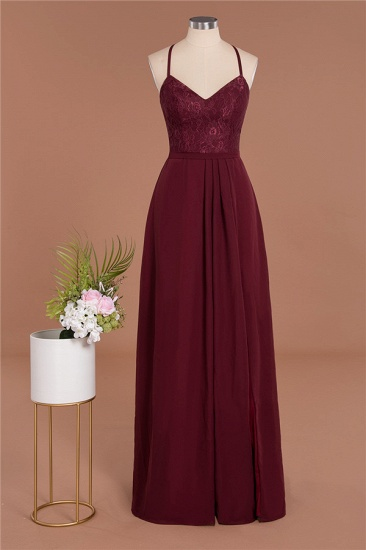 Elegant CrissCross Back Burgundy Lace Bridesmaid Dress With Spaghetti Straps_10