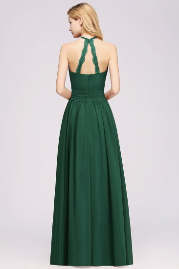 Elegant High-Neck Halter Long Affordable Bridesmaid Dresses with Ruffles_54