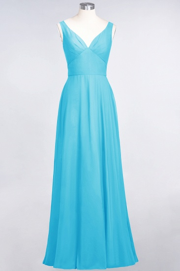 Chic Chiffon V-Neck Straps Ruffle Affordable Bridesmaid Dresses with Open Back_24