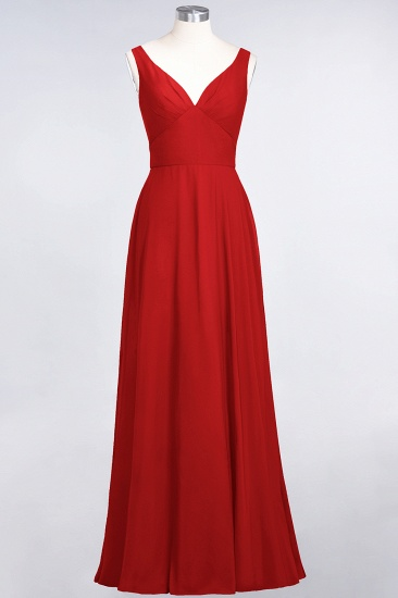 Chic Chiffon V-Neck Straps Ruffle Affordable Bridesmaid Dresses with Open Back_8