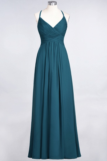 Affordable Chiffon Ruffle V-Neck Bridesmaid Dress with Spaghetti Straps_26