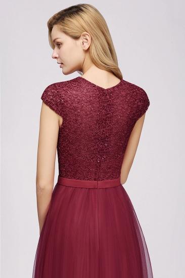 BMbridal Elegant Lace Cap-Sleeves Long Burgundy Birdesmaid Dresses Online_6
