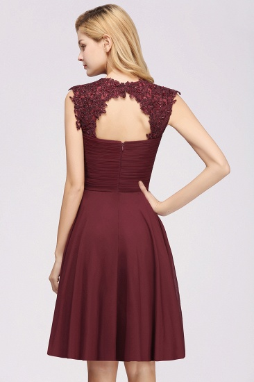 Cute Chiffon Round Neck Short Burgundy Bridesmaid Dresses with Appliques_52