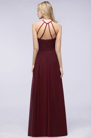 Affordable Halter Sleeveless Long Burgundy Bridesmaid Dress with Ruffle_52