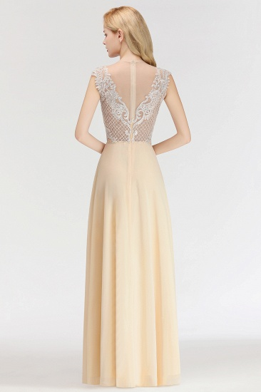 Modest Jewel Champagne Lace Bridesmaid Dresses with Beadings_3