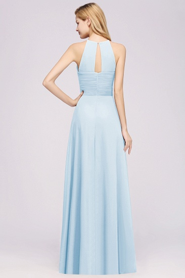 BMbridal Halter Crisscross Pleated Bridesmaid Dress Blue Chiffon Sleeveless Maid of Honor Dress_61