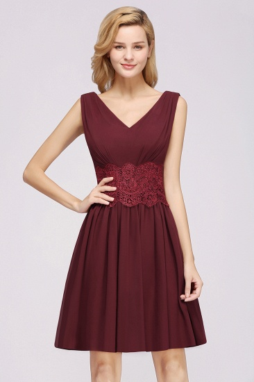 Pretty V-Neck Short Sleeveless Lace Bridesmaid Dresses Online_10