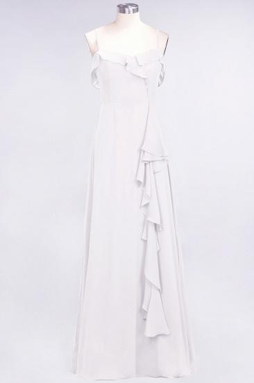 Elegant Spaghetti Straps Ruffle Burgundy Chiffon Dresses Affordable_1