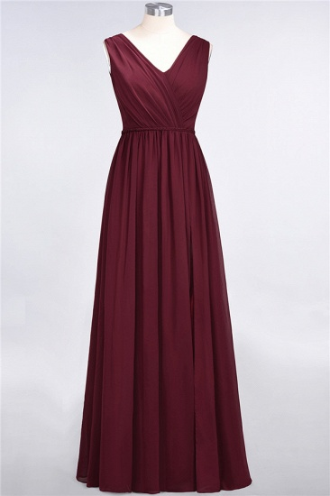 Glamorous TulleV-Neck Ruffle Burgundy Bridesmaid Dress Online_61
