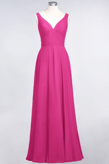 Chic Chiffon V-Neck Straps Ruffle Affordable Bridesmaid Dresses with Open Back_9