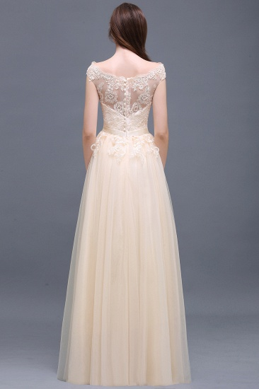 Affordable Off-the-Shoulder Champagne Bridesmaid Dresses with Appliques_3