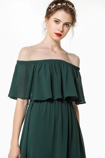 Gorgeous Chiffon Flounced Crinkle Cold-shoulder Long Bridesmaid Dresses Affordable_6
