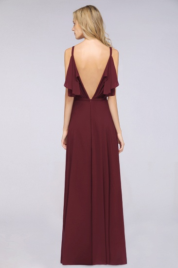 Modest Cold-shoulder Crinkle Chiffon Long Bridesmaid Dress with Pearls_3