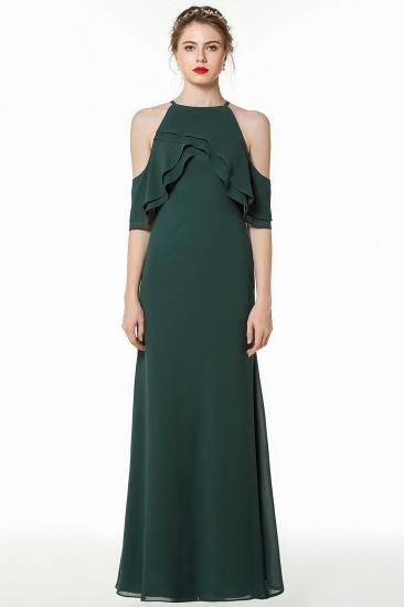 BMbridal Affordable Cold-shoulder Ruffle Dark Green Bridesmaid Dresses Online_1