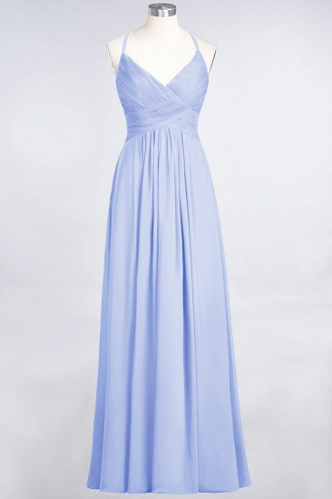 Affordable Chiffon Ruffle V-Neck Bridesmaid Dress with Spaghetti Straps_21