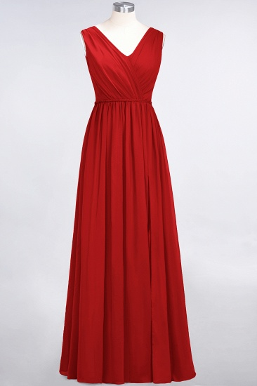 Glamorous TulleV-Neck Ruffle Burgundy Bridesmaid Dress Online_8