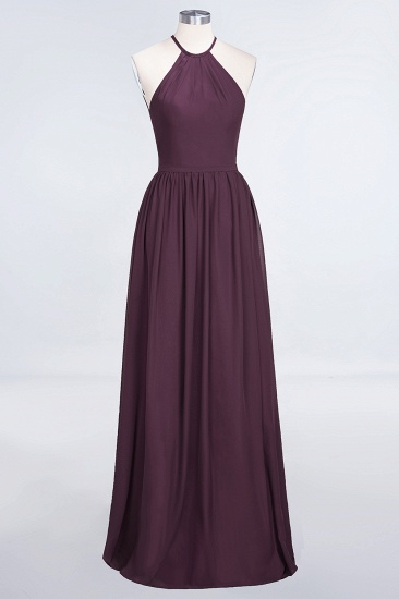 BMbridal Affordable Halter Sleeveless Long Burgundy Bridesmaid Dress with Ruffle_20