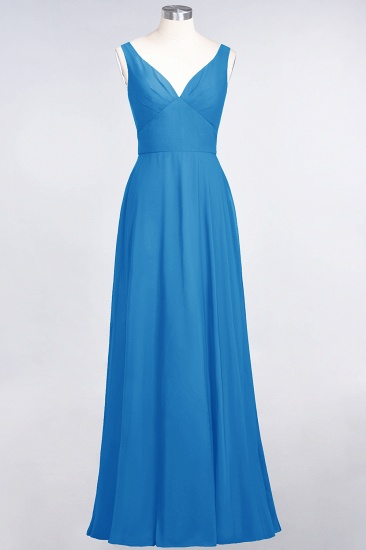 Chic Chiffon V-Neck Straps Ruffle Affordable Bridesmaid Dresses with Open Back_25