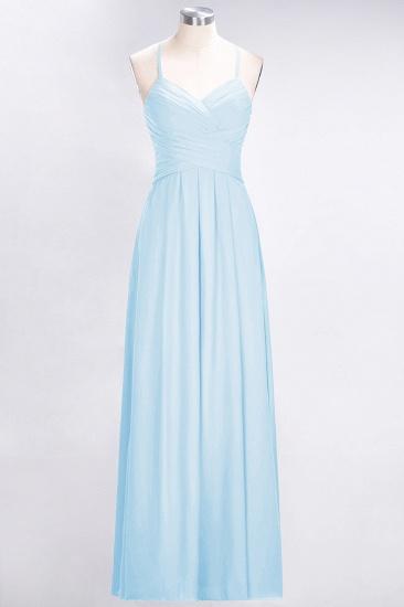 Affordable Spaghetti Straps V-Neck Burgundy Chiffon Bridesmaid Dress with Keyhole Back_23