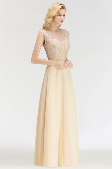 Modest Jewel Champagne Lace Bridesmaid Dresses with Beadings_6