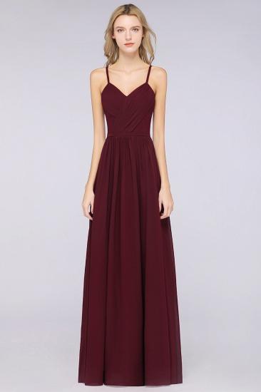 BMbridal Elegant Chiffon V-Neck Burgundy Bridesmaid Dresses With Spaghetti-Straps_1