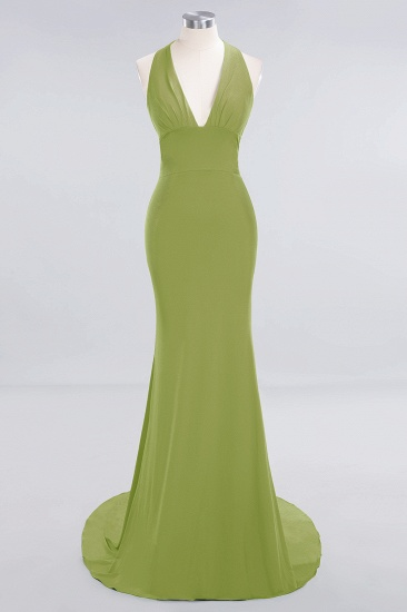 Mermaid Halter V-Neck Dark Green Chiffon Bridesmaid Dress with Open Back_29