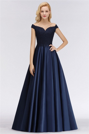 Elegant Off-the-Shoulder Ruffle Navy Lace Bridesmaid Dresses with Beads_1