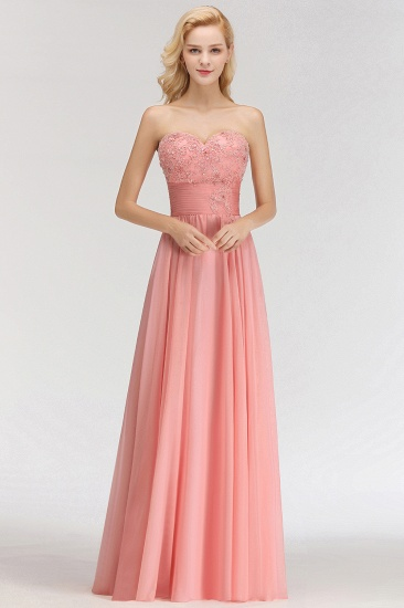 Elegant Sweetheart Ruffle Pink Bridesmaid Dresses with Appliques_1