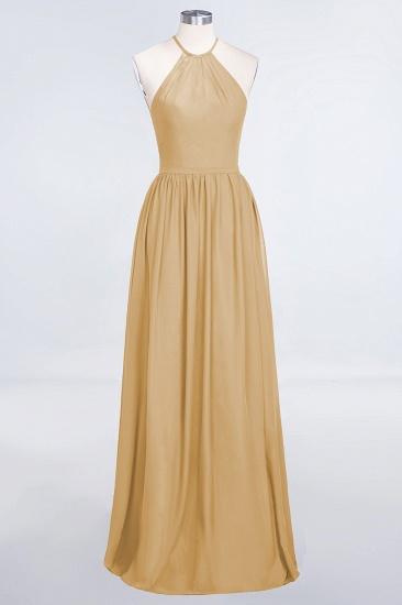 BMbridal Affordable Halter Sleeveless Long Burgundy Bridesmaid Dress with Ruffle_13