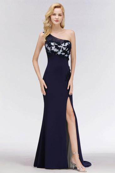 Simple Mermaid One-Shoulder Navy Bridesmaid Dresses with Slit_6