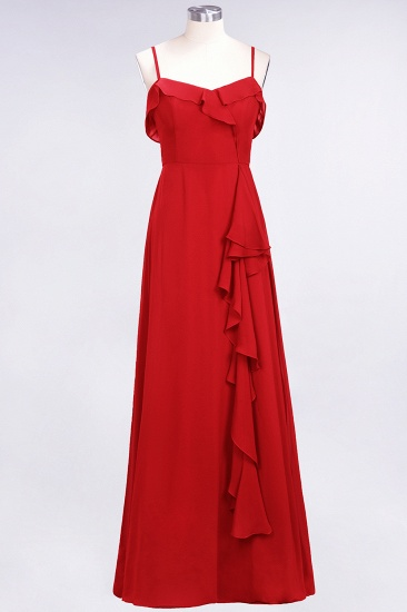Elegant Spaghetti Straps Ruffle Burgundy Chiffon Dresses Affordable_8