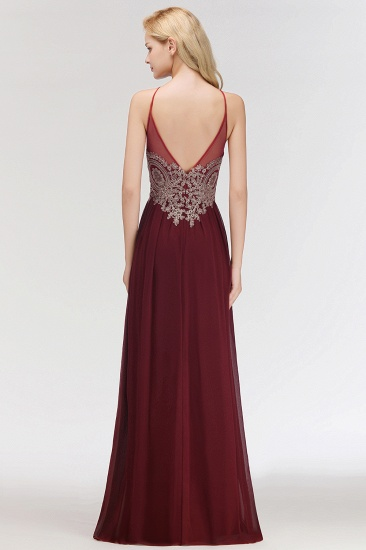 BMbridal Chic Spaghetti Straps Long Burgundy Backless Bridesmaid Dress with Appliques_3