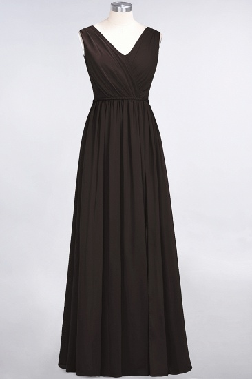Glamorous TulleV-Neck Ruffle Burgundy Bridesmaid Dress Online_11