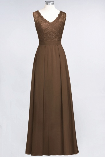 BMbridal Modest Chiffon V-Neck Burgundy Lace Bridesmaid Dresses Online_12
