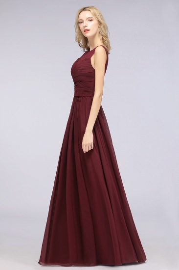 Modest Chiffon Lace Scoop Ruffle Burgundy Bridesmaid Dresses Affordable_5