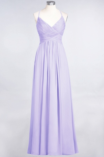Affordable Chiffon Ruffle V-Neck Bridesmaid Dress with Spaghetti Straps_20