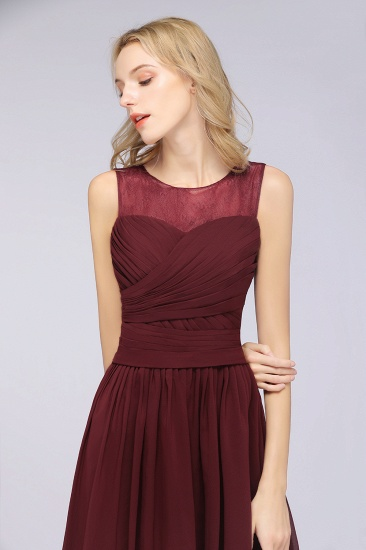 Modest Chiffon Lace Scoop Ruffle Burgundy Bridesmaid Dresses Affordable_6