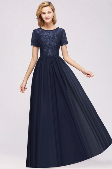 Elegant Dark Navy Long Lace Bridesmaid Dresses with Short-Sleeves_28