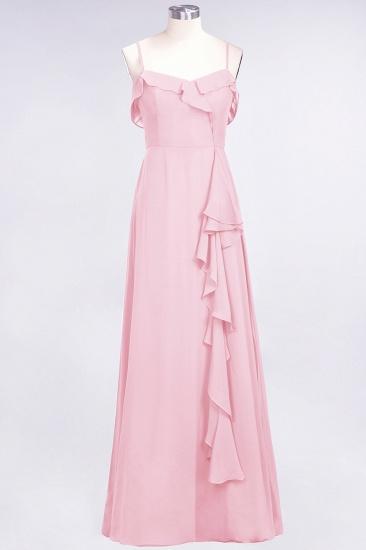 Elegant Spaghetti Straps Ruffle Burgundy Chiffon Dresses Affordable_4