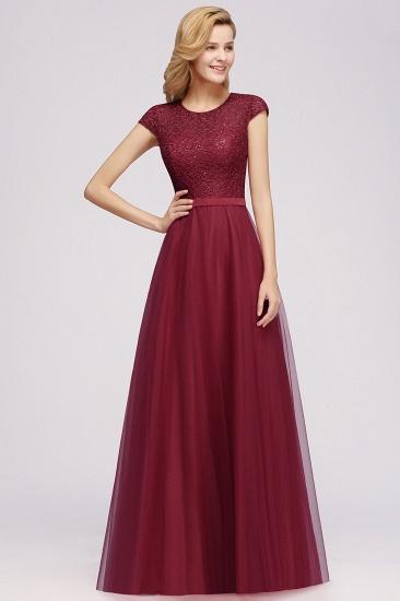 BMbridal Elegant Lace Cap-Sleeves Long Burgundy Birdesmaid Dresses Online_5