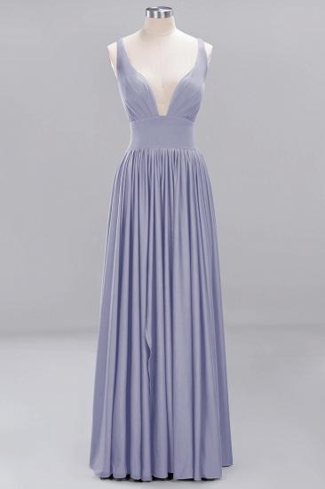 Sexy Deep V-Neck Sleeveless Bridesmaid Dress Burgundy Chiffon Wedding Party Dress_19
