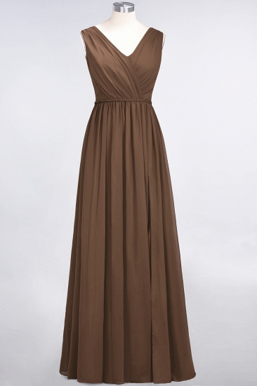 Glamorous TulleV-Neck Ruffle Burgundy Bridesmaid Dress Online_12