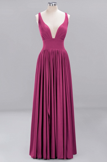 Sexy Deep V-Neck Sleeveless Bridesmaid Dress Burgundy Chiffon Wedding Party Dress_8