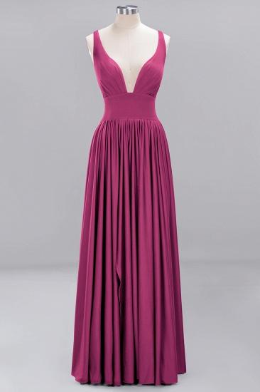 Sexy Deep V-Neck Sleeveless Bridesmaid Dress Burgundy Chiffon Wedding Party Dress_8